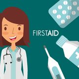 Doctor female first aid supplies elements. Vector illustration Royalty Free Stock Photo
