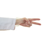 Doctor female hand over white isolated background Stock Photo