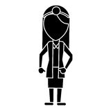 Doctor female with head mirror and coat pictogram Royalty Free Stock Images