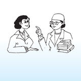 Doctor and female patient. Hand drawn illustration of a doctor talking with a female patient vector illustration