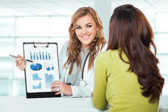 Doctor with female patient. Friendly, Happy Doctor with Stethosc Royalty Free Stock Photo