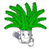 Doctor fern frond frame decoration on cartoon stock illustration