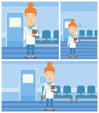 Doctor with file in medical office. Female friendly doctor with stetoscope standing in hospital corridor and carrying folder of patient or medical information Royalty Free Stock Photos