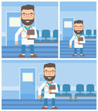 Doctor with file in medical office. A hipster friendly doctor with stetoscope standing in hospital corridor and carrying folder of patient or medical Stock Photography