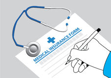 Doctor fill in the medical insurance form with stethoscope on the table. Vector illustration Stock Photo