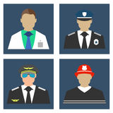 Doctor, Fireman, Policeman, Pilot portrait logo and icon. Flat. Vector illustration Royalty Free Stock Photo