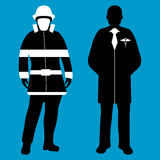 Doctor and Fireman Silhouette icon. Service 911. Doctor and Fireman flat icon. Service 911. Silhouette Vector illustration Royalty Free Stock Photo