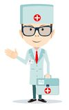 Doctor with first aid bag. Stock vector illustration Royalty Free Stock Photography