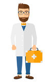 Doctor with first aid box. A doctor carrying first aid box vector flat design illustration  on white background. Vertical layout Stock Image
