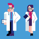 Doctor. Flat design illustration of male and female doctor Stock Photo