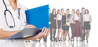 Doctor with folder. On the background of office workers isolated Royalty Free Stock Photos