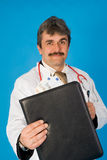 Doctor with folder and money Royalty Free Stock Photos