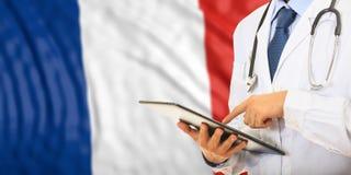 Doctor on France flag background. 3d illustration Royalty Free Stock Photo