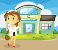 A doctor in front of the hospital. Illustration of a doctor in front of the hospital Royalty Free Stock Image