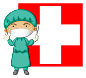 A doctor in front of the Switzerland flag Royalty Free Stock Photos