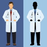 Doctor in Full Color and Silhouette Royalty Free Stock Photo
