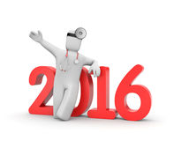 Doctor funcionado con al Año Nuevo Imágenes de archivo libres de regalías