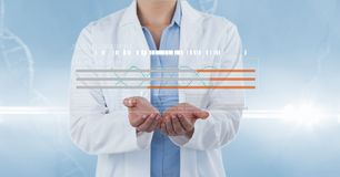 Doctor with futuristic DNA symbol Stock Image