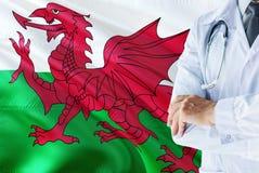 Doctor Galés que se coloca con el estetoscopio en fondo de la bandera de País de Gales Concepto de sistema sanitario nacional, te fotos de archivo libres de regalías