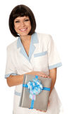 Doctor with a gift Stock Photo