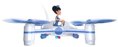 Ambulance. Doctor girl flying on a quadrocopter. 3D illustration Stock Image
