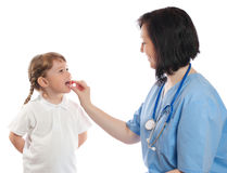 Doctor gives a tablet to girl Stock Photography