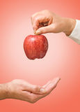 Doctor giving apple. As a gift of health royalty free stock photos