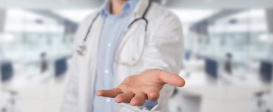 Doctor giving empty hands. Doctor on blurred background giving empty hands stock illustration