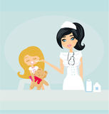 Doctor giving girl checkup Royalty Free Stock Photos