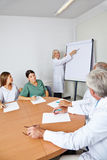 Doctor giving lecture at team meeting stock photo