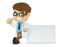 Doctor Giving Thumb Up y el inclinarse en una muestra en blanco ilustración del vector