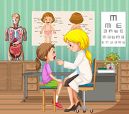 Doctor giving treatment to little girl in clinic. Illustration Royalty Free Stock Photos