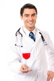Doctor with glass red wine Stock Photos