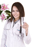 Doctor with glass of water. Royalty Free Stock Image
