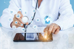 The doctor in the global network test, diagnostics. Concept design royalty free stock images