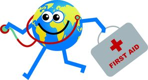Doctor globe. Happy cartoon world globe man carrying doctors medical equipment Stock Images