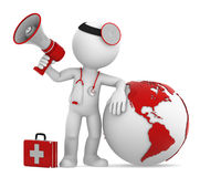 Doctor with globe and megaphone. Americas side Royalty Free Stock Photos