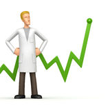 Doctor with green diagram Royalty Free Stock Image
