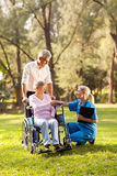 Doctor greeting senior royalty free stock images