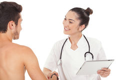 Doctor greets patient Royalty Free Stock Photos
