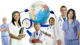 Doctor group. Doctors and Nurses standing with white background and background of earth Stock Image