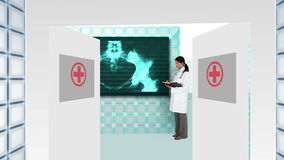 Doctor guiding you into futuristic hospital interface. With doctors working from screens stock video