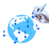 Doctor hand drawing with modern computer interface. Medicine doctor hand drawing with modern computer interface as medical network concept royalty free stock photos