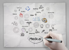 Doctor hand draws medical icons on crumpled paper Royalty Free Stock Photography