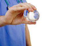 Doctor hand globe Royalty Free Stock Photos