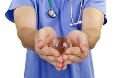 Doctor hand globe Stock Photo