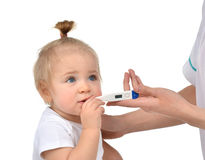 Doctor hand measuring temperature to baby toddler child kid royalty free stock photo
