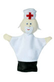 Doctor hand puppet. White doctor hand puppet isolated Royalty Free Stock Images