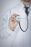 Doctor hand with stethoscope listening heart beat Stock Images