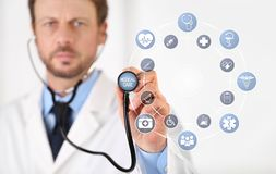 Doctor hand with a stethoscope touch screen with blue medical symbols and icons, medical care concept copy space on white vector illustration